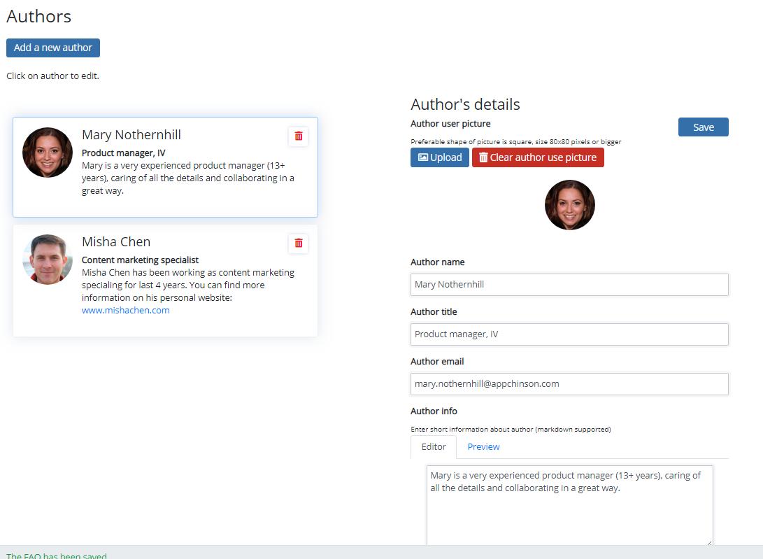 Author editor