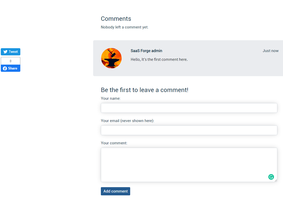 Social buttons and comments