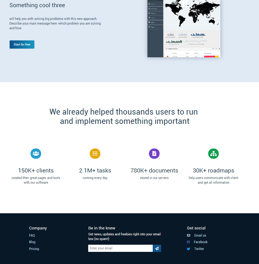 Landing - social proof and footer